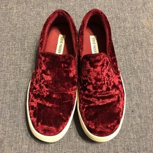 Steve Madden Gema Red Velvet Slip On Sneakers